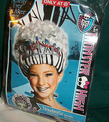 Monster High Frankie Stein Threaderella Child Wig Sz 6+ New/ringlets