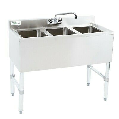 38 12 3-compartment Stainless Steel Underbar Sink With Faucet