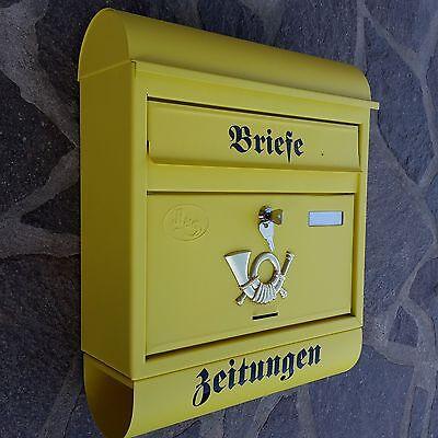 XXL Briefkasten Postkasten Gelb Matt+Zeitungsrolle Wandmontage Nostalgie Neu