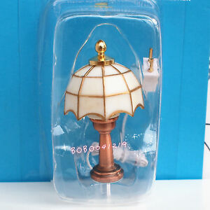 Dollhouse miniature 1 12 toy 12v white tiffany table lamp for 12v table lamp