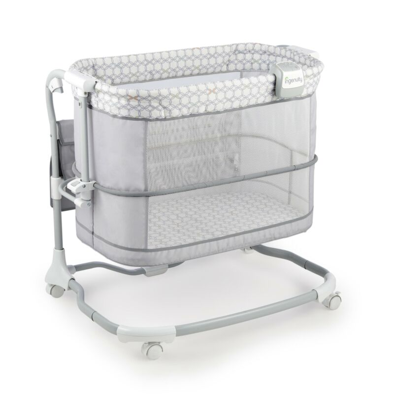 Baby Crib Bedside Bassinet W/ 16 x 31 Mattress Adjustable Cr