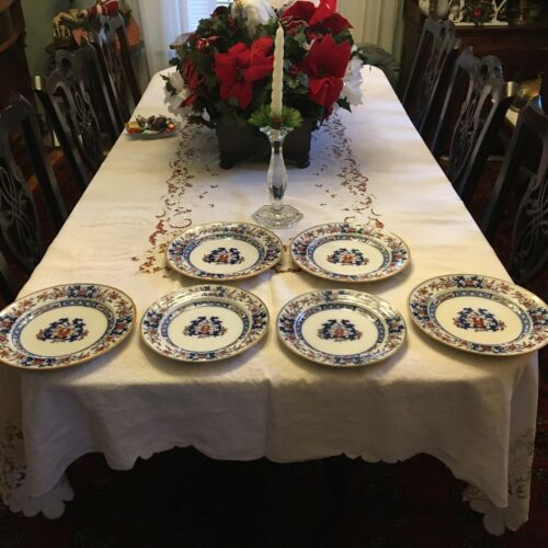"""Grouping of 6 Antique Mintons Flow Blue & Polychrome Lyre 9"""" & 10""""  Plates #8667"""