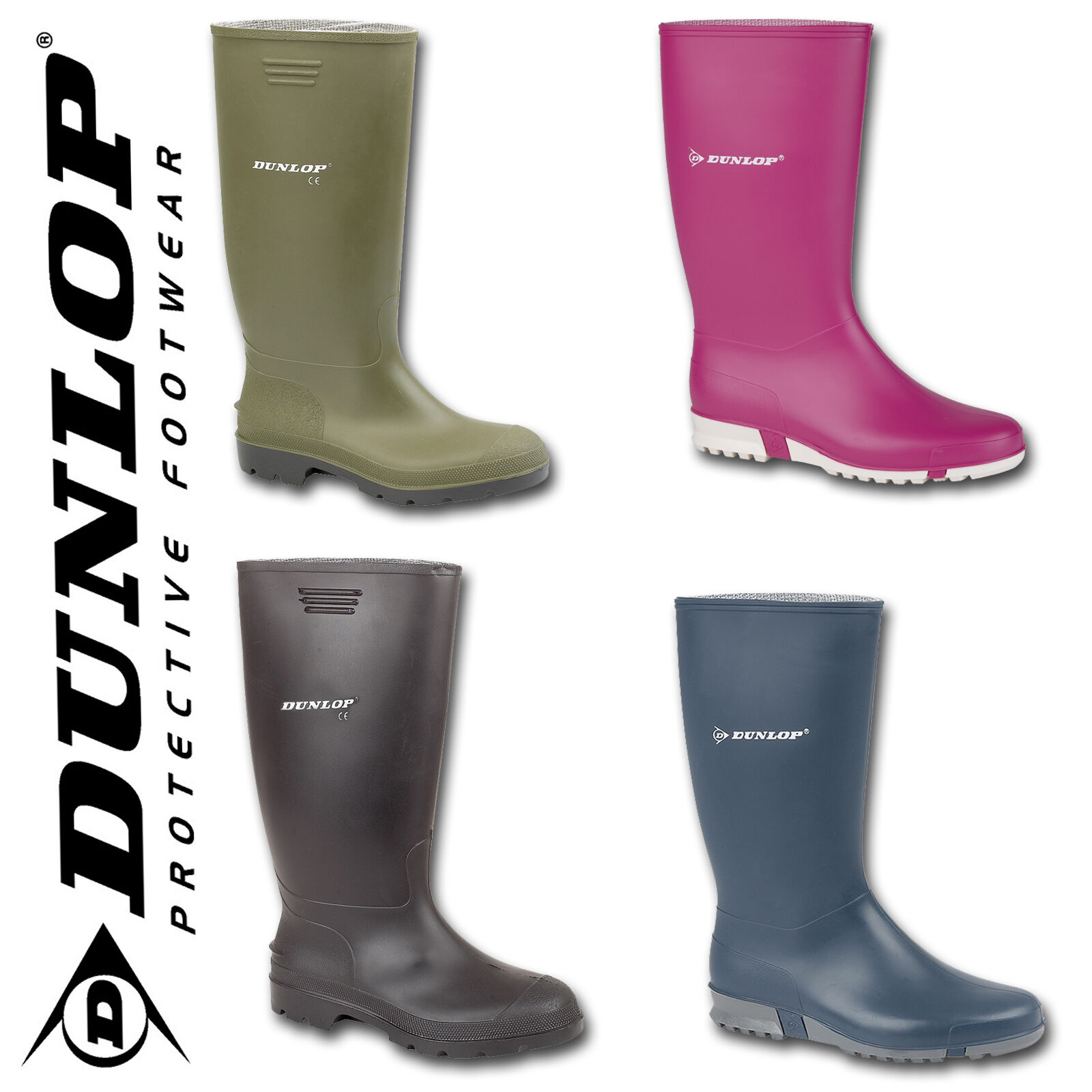Mens Ladies Wide Calf Wellington Dunlop Wellies Boots Rain Snow Cold Size 4-12
