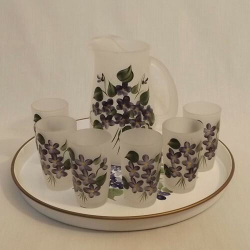 vintage hand painted frosted glass juice pitcher and 6 glasses with serving tray