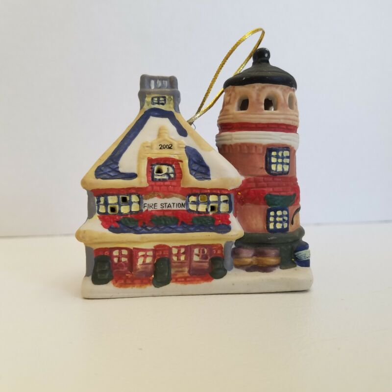 Badcock Home Furnishing Christmas Ornament Bell Fire Station 2002 Ceramic House