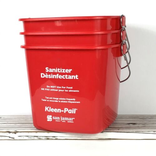 3 San Jamar KP97RD Kleen-Pail / Red Sanitizer Pails Bucket / Cleaning Restaurant