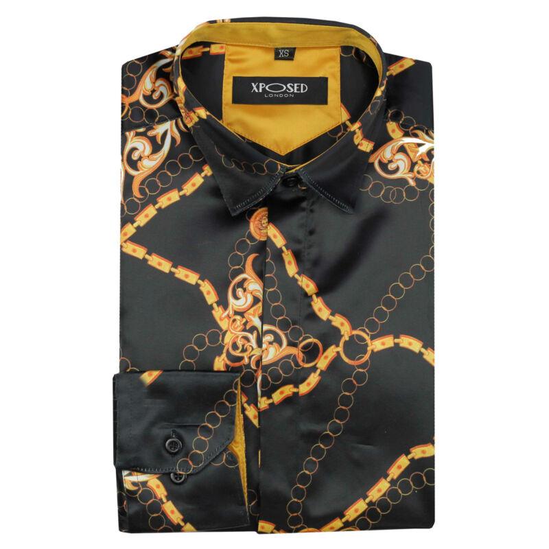 Mens Italian Designer Style Gold Chain Print on Black Silky Feel Satin Shirt