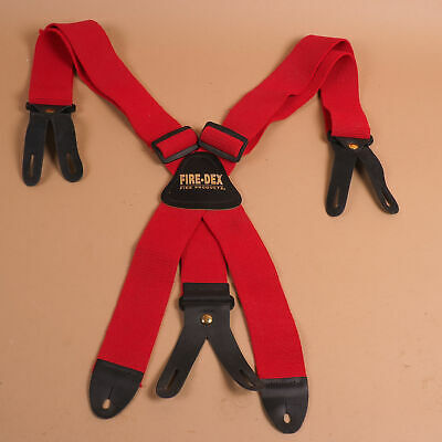 Fire-dex Firefighter Stretch Elastic Suspenders X-back W 8 Button Leather Ends B