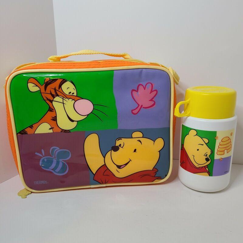 Vintage Winnie The Pooh Thermos Soft Zip Lunchbox w Shoulder Strap - Disney
