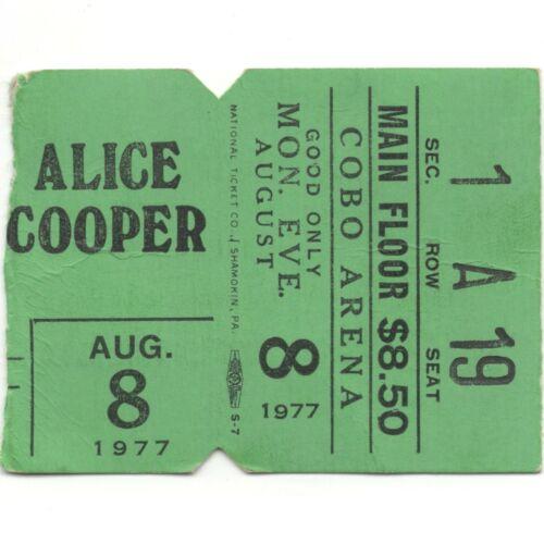 ALICE COOPER & BURTON CUMMINGS Concert Ticket Stub DETROIT MI 8/8/77 COBO ARENA