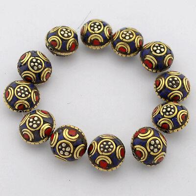Coral Lapis Brass 12 Beads Flower Tibetan Wholesale Lot Tribal Nepal UB2585A
