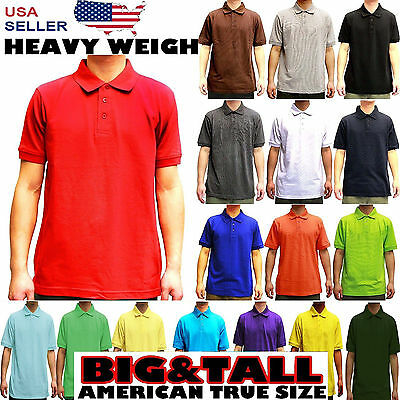 MENS BIG AND TALL PLAIN POLO SOLID COLORS T SHIRT PIQUE COLLARED CASUAL TOP -