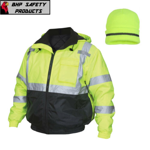 Hi-Vis Insulated Safety Bomber Reflective Jacket with Winter Weather Beanie Hat