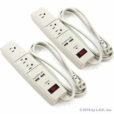 2 pack 5 FT 3 Outlet Surge Protector 2 USB Port AC Wall Power Strip Right Angle