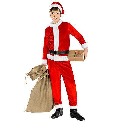 Kinder Weihnachtsmann Kostüm Overall Nikolaus Santa Claus Weihnachts Verkleidung ()