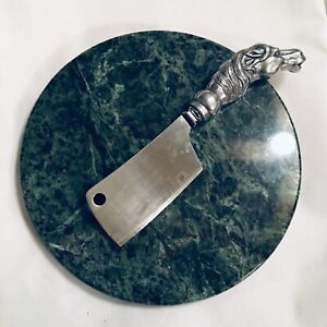 VINTAGE marble cheese platter knife