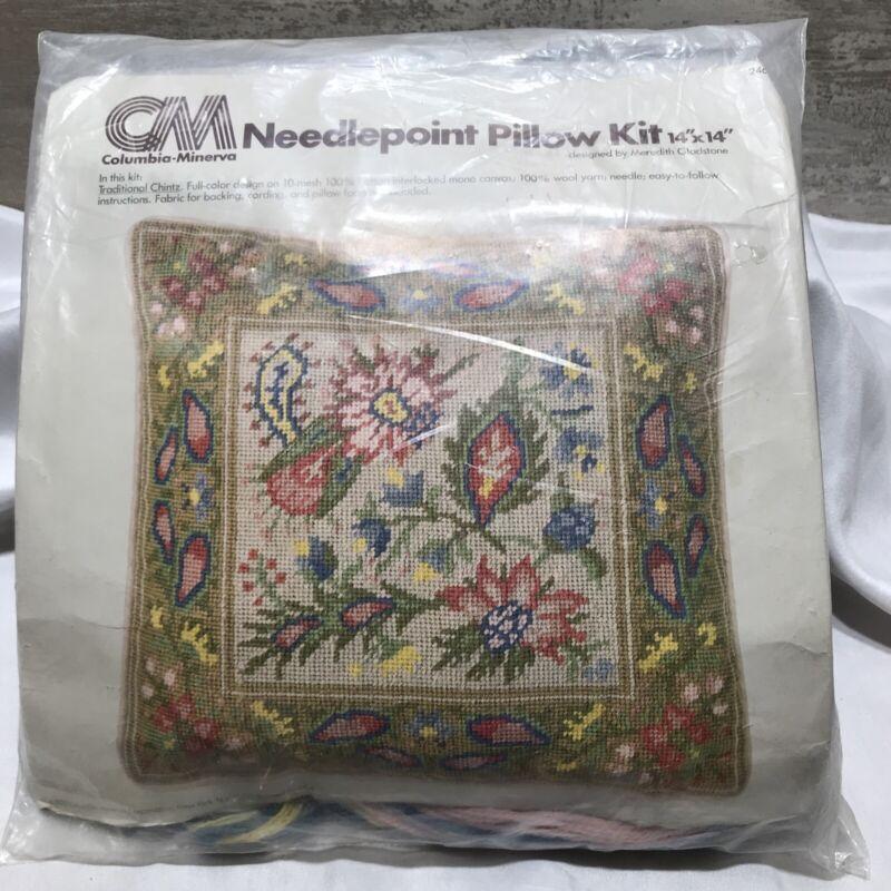 "Vintage CM Columbia Minerva Needlepoint Pillow Kit Pastel Floral 14"" X 14"" New"