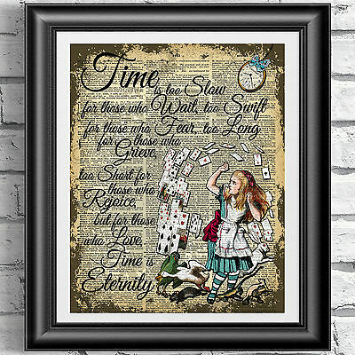 Original ART Print DICTIONARY ANTIQUE BOOK PAGE Alice in Wonderland Upcycled