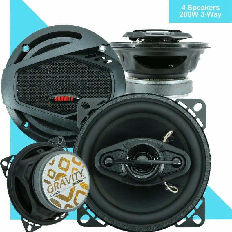 "4X Gravity  4"" 4-WAY CAR AUDIO COAXIAL SPEAKERS (PAIR) 400W MAX PAIR"