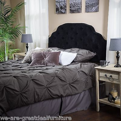 Bedroom Furniture Queen to Full Black Suede Headboard w/ Button Tufted Accent