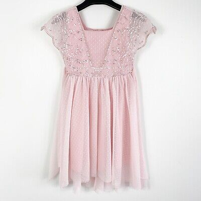 Pixie Girl Clothing (Monsoon Girls Pixie Easter Party Dress Sz 7 Pink Sequin FIREFLIES CHASING)