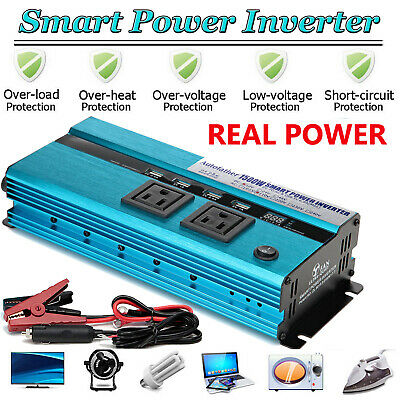 Power Inverter Car USB 1500Watt / 3000W Peak Charger 12V DC To 110V AC covid 19 (Dc Peak Power Charger coronavirus)