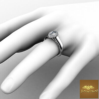 Halo French Pave Setting Pear Diamond Engagement Wedding Ring GIA H VS2 0.7 Ct 3