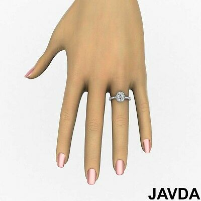 Cushion Diamond Engagement GIA G VS2 Halo Pave Set Ring 18k White Gold 0.87Ct 4