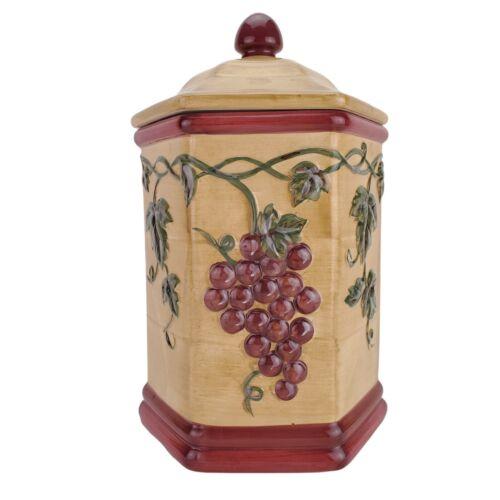 "Nonni's Tuscan Grapes Biscotti Ceramic Cookie Jar Canister 12.5"""