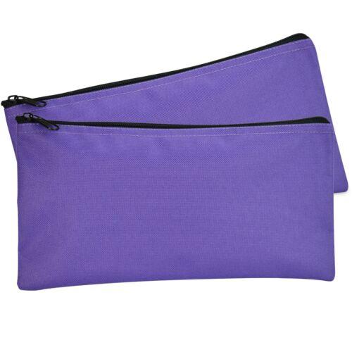 DALIX Zipper Money Bank Bag Pencil Pouch Makeup Travel Accessories Purple 2 PACK