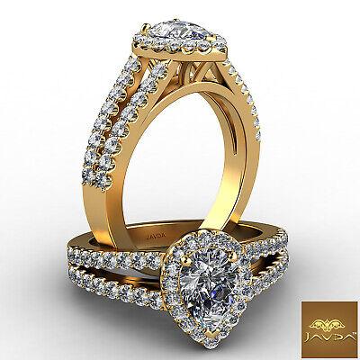Halo Prong Setting Pear Cut Diamond Engagement Split Shank Ring GIA F VS2 1.25Ct