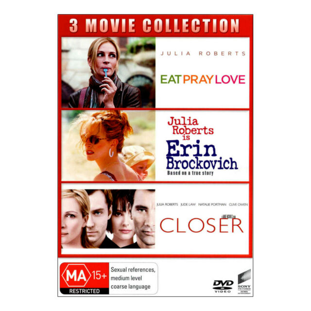 Eat Pray Love / Erin Brockovich / Closer DVD 3 Disc Set Brand New  Julia Roberts