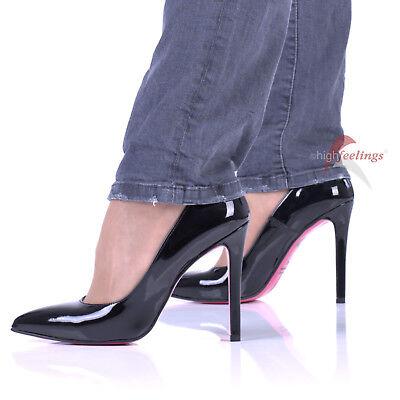 Pu High Heel Pumps (High Heels Lack Pumps Schwarz 10 - 12 cm Absatz Größe 36 - 47 Made in Italy)