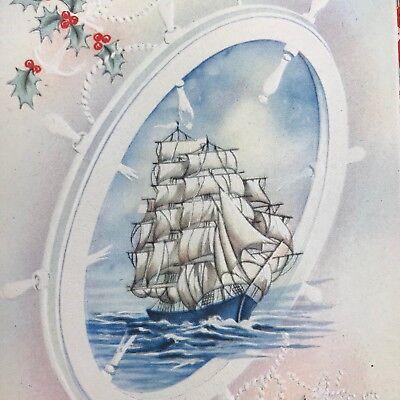 Vintage Mid Century Christmas Greeting Card Sailboat Ships Sailing Red Plaid