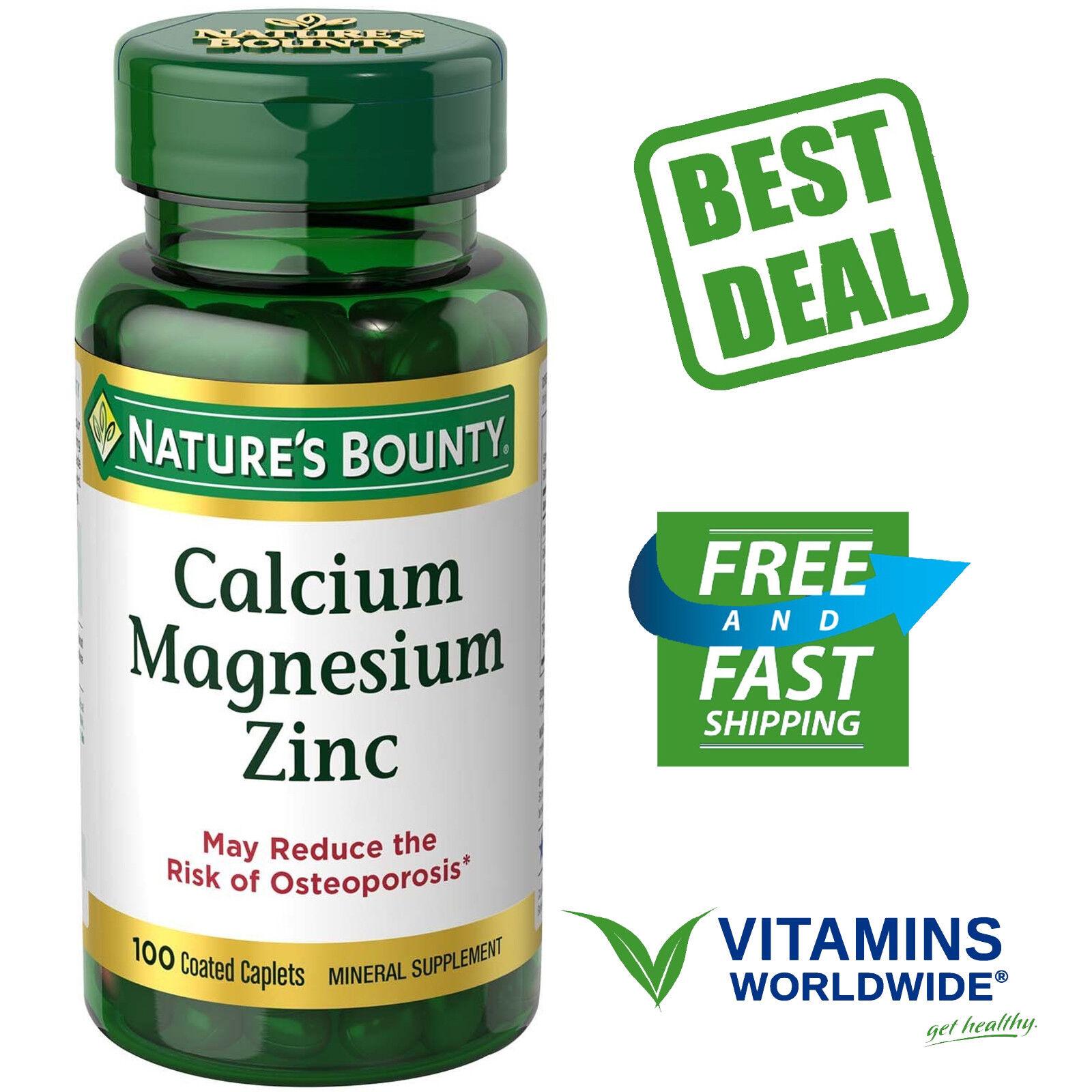 Lot of 3 Nature's Bounty Calcium Magnesium Zinc 100 Caplets