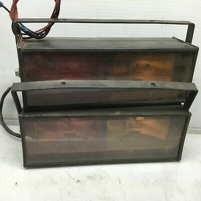 Federal Signal Director Light Model D2 W Brackets Pair Of 2 - Yellowred Lens