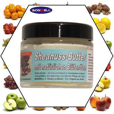 Shea Nuss Butter Mille Fleure Blütenöle Sheanuss natürlich 100 ml Glastiegel  Natürliche Shea Butter
