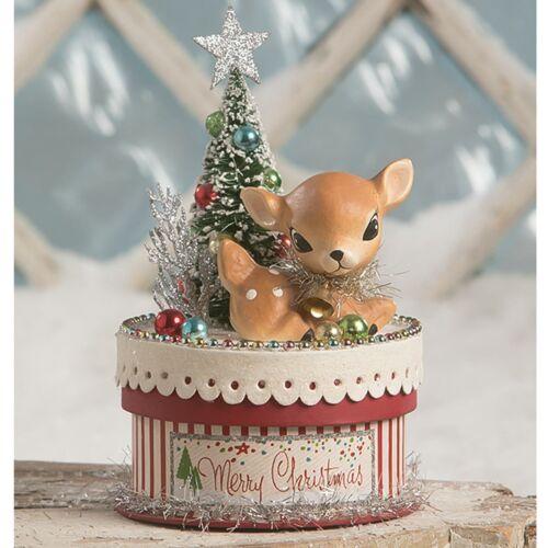 "7"" Bethany Lowe Merry Bright Reindeer Glitter Box Retro Vtg Christmas Tree Decor"