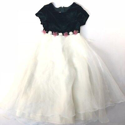 Bonnie Jean Sz 10 Girls Fancy Off White Sheer Chiffon Overlay Green Velvet Dress