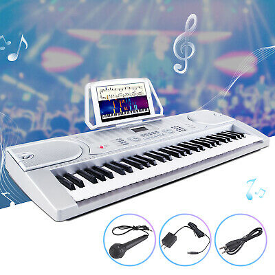 61 Key Music Electronic Keyboard Digital Piano Organ with Microphone Silver ()