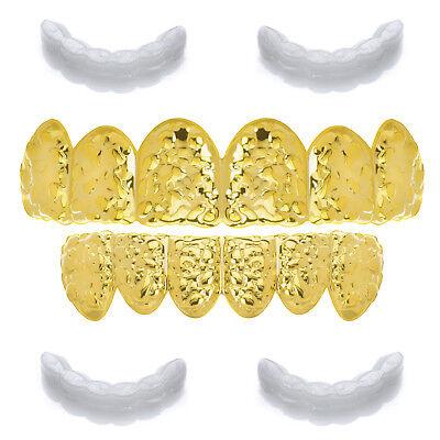 Nugget GRILLZ SET Hip Hop Gold Plated Top Bottom Cap Teeth LS 616 G 2 extra Bar