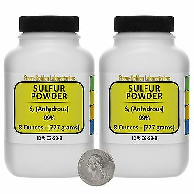 Sulfur Powder S8 99 Acs Grade Powder 1 Lb In Two Space-saver Bottles Usa