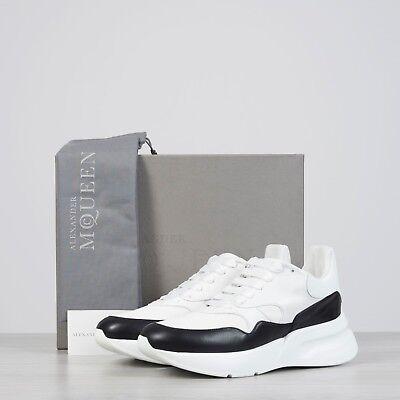 ALEXANDER MCQUEEN 790$ Oversized Runner Sneakers In Optic White & Black Leather