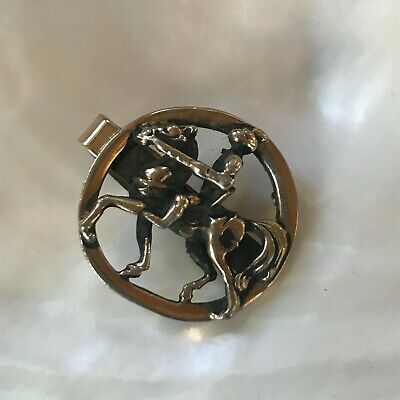 Vintage Round Oxidized Goldtone Knight on Horse Tie Clip – 1 and 1/8th's inches ](Knight On Horse Costume)