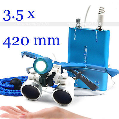 Blue 3.5x Dental Loupes Lupen Dentist Optical Glasses 420mm With Led Head Light