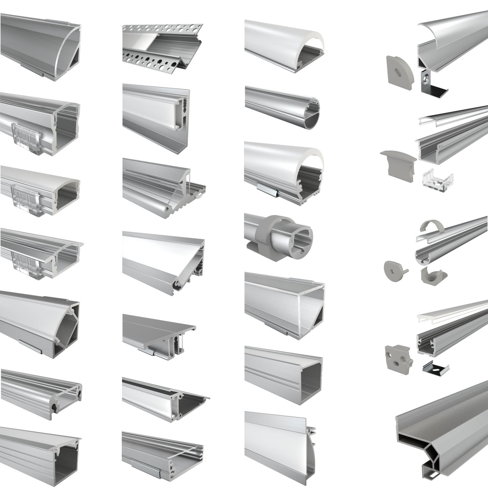 LED Aluprofil Aluminium Profile Leiste Eloxiert für LED-Streifen 2m