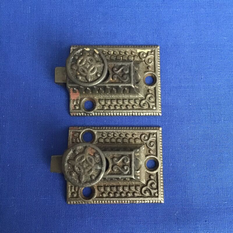 ANTIQUE 1880's PAIR OF METAL VICTORIAN STYLE CABINET CUPBOARD LATCHES NO KEEPERS
