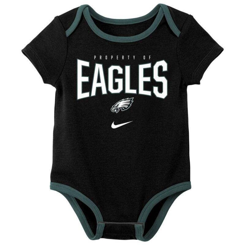 Nike NFL Infant Newborn Philadelphia Eagles Nostalgic Icon Creeper 3-Pack Set