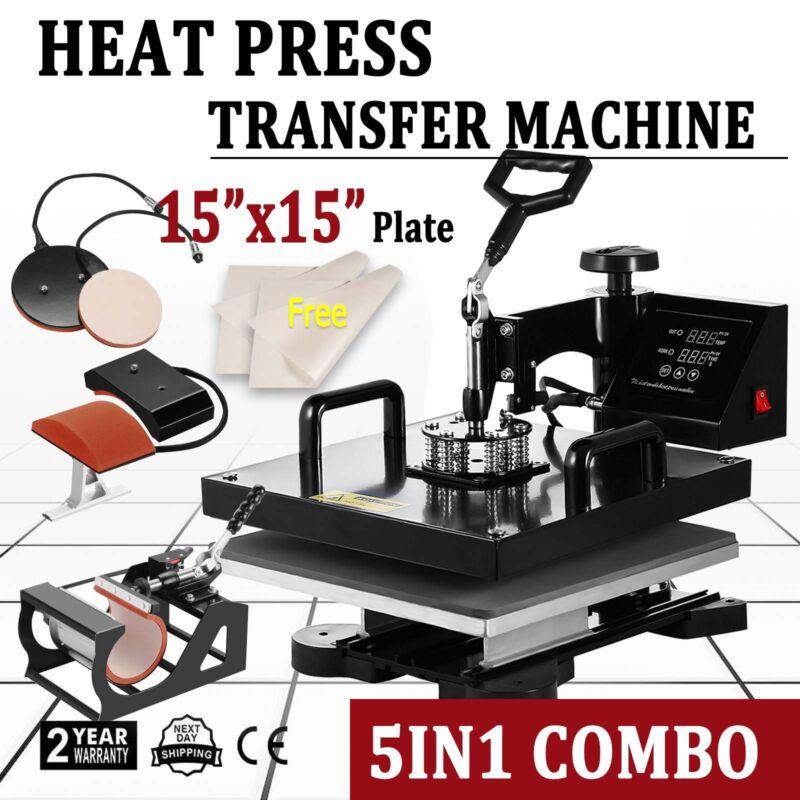 "15""x15"" 5IN1 Combo T-Shirt Heat Press Transfer Machine Sublimation Swing Away"