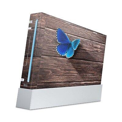 Nintendo Wii Aufkleber Skin Klebefolie Schutzfolie Sticker Folie Butterfly Wood ()
